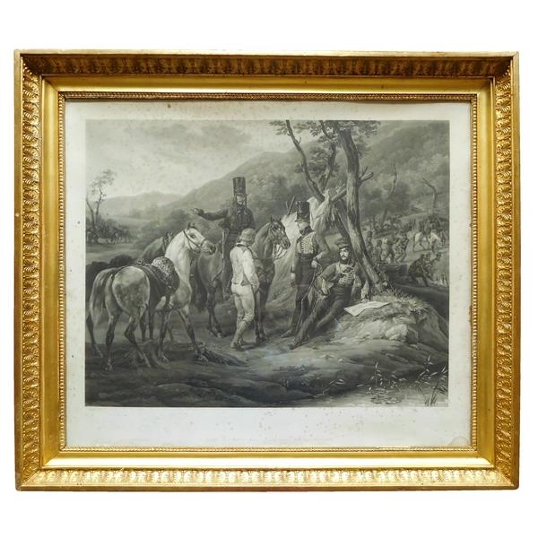 Gravure d'après Vernet : Bivouac du 3e Régiment de Hussards, cadre en bois doré, époque Empire