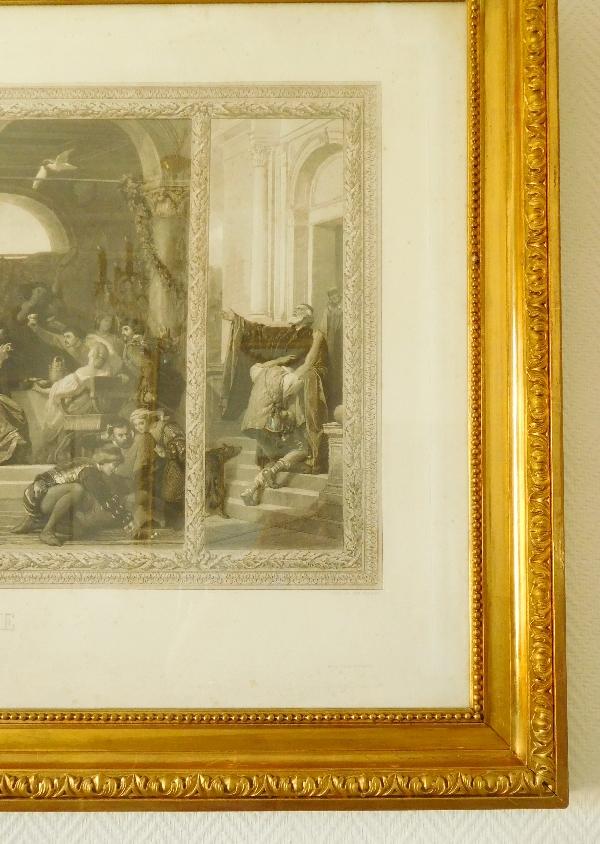 Grande gravure XIXe, cadre doré à la feuille d'or : l'enfant prodigue