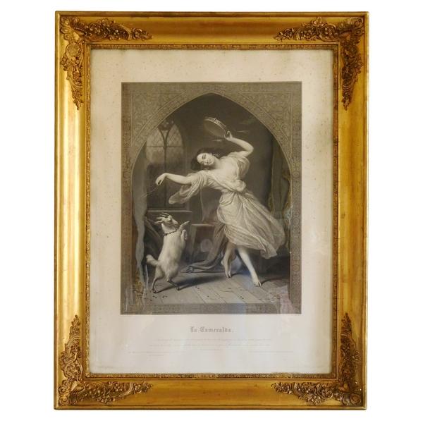Grande gravure romantique XIXe : Esmeralda - Notre Dame de Paris - Victor Hugo