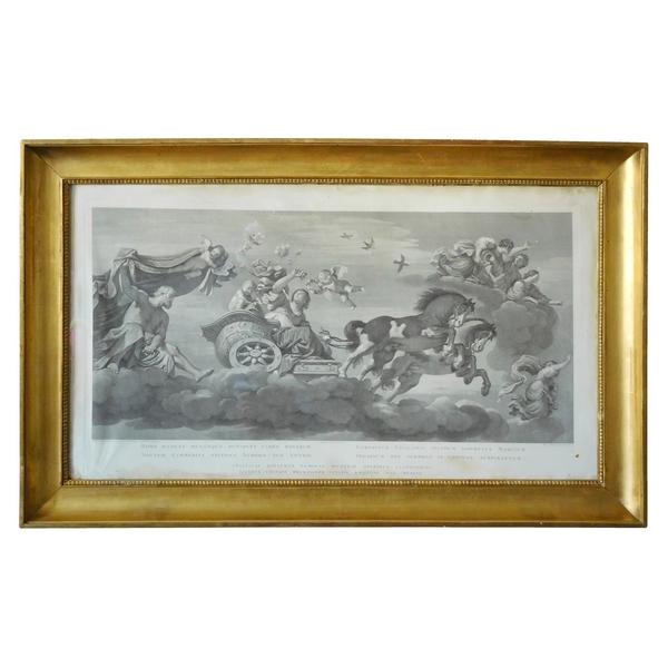 Grande gravure mythologique d'époque Empire : le char d'Aurore, cadre en bois doré à la feuille d'or