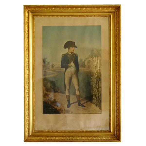 Grande gravure colorisée : Napoléon Bonaparte devant la Malmaison d'Après Isabey