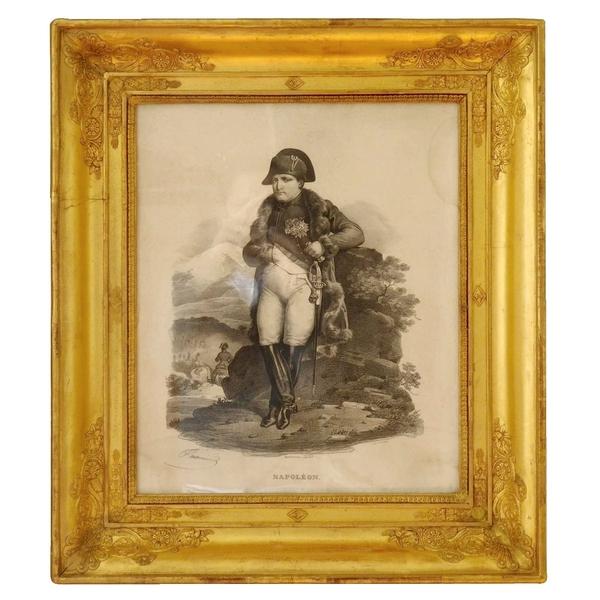 Gravure : l'Empereur Napoléon Ier dans un cadre en bois doré feuille d'or