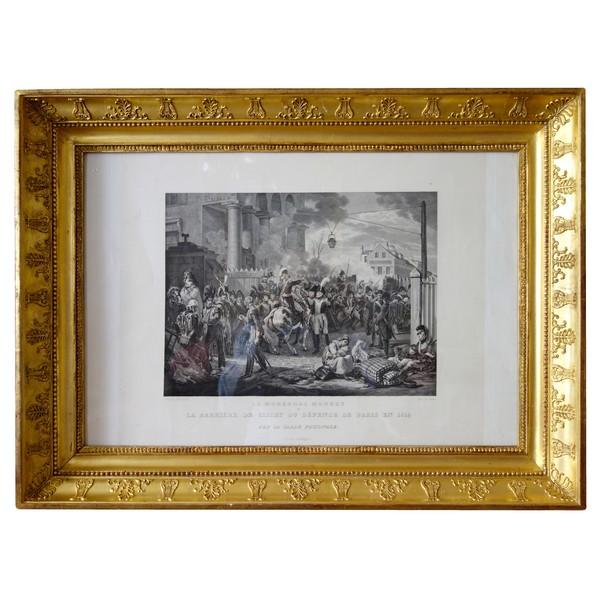 Gravure Napoléonienne, la défense de la Barrière de Clichy - Campagne de France sous l'Empire