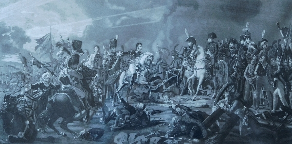 Grande gravure Napoléonienne, l'Empereur vainqueur & son état major, cadre en bois doré, époque Empire