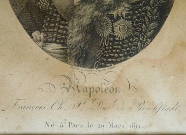 Portrait de l'Aiglon Napoléon II le Roi de Rome, gravure dans son cadre en bois doré - 26cm x 31cm