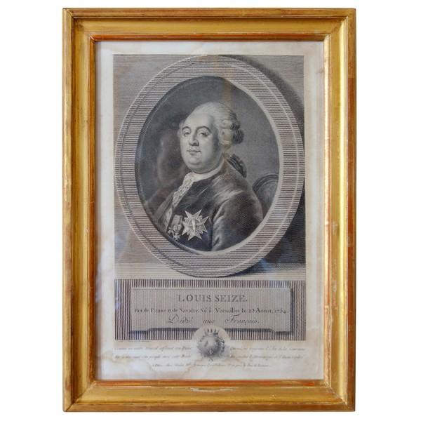 Portrait gravure de Louis XVI d'époque XVIIIe siècle, souvenir royaliste