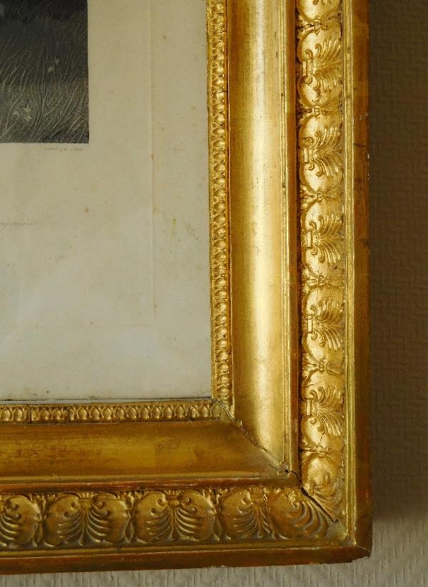 Gravure orientaliste d'après Horace Vernet, cadre en bois doré à la feuille d'or, époque Empire