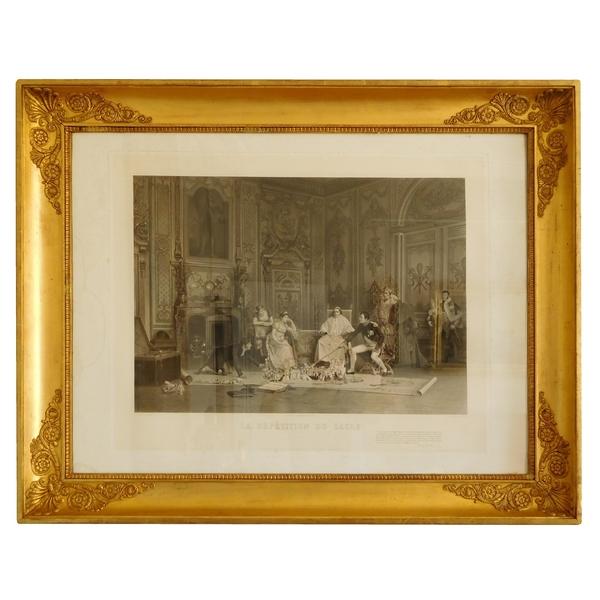 Grande gravure : la répétition du Sacre de Napoléon, cadre d'époque Empire doré à la feuille d'or