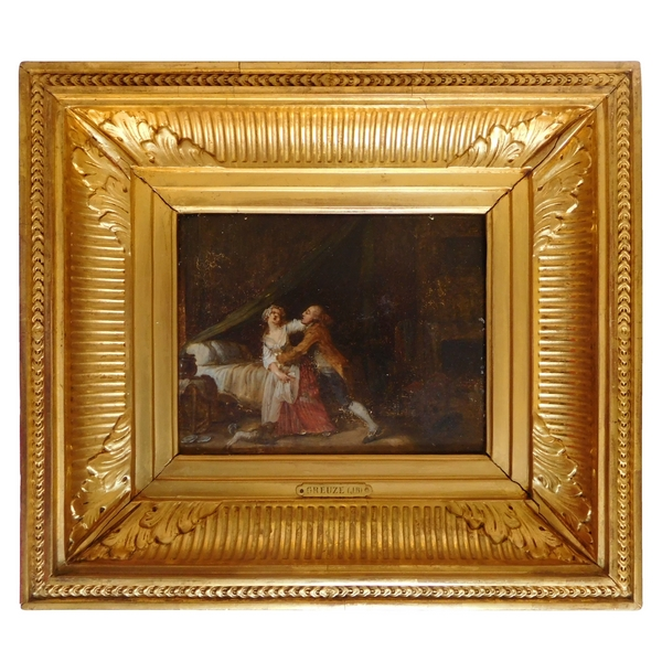 Ecole du XIXe siècle, scène galante d'après Greuze, huile sur panneau dans un cadre en bois doré