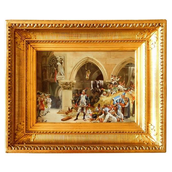 Ecole Française du 19e siècle, l'invasion de Venise par les Français en 1797, huile sur panneau d'acajou