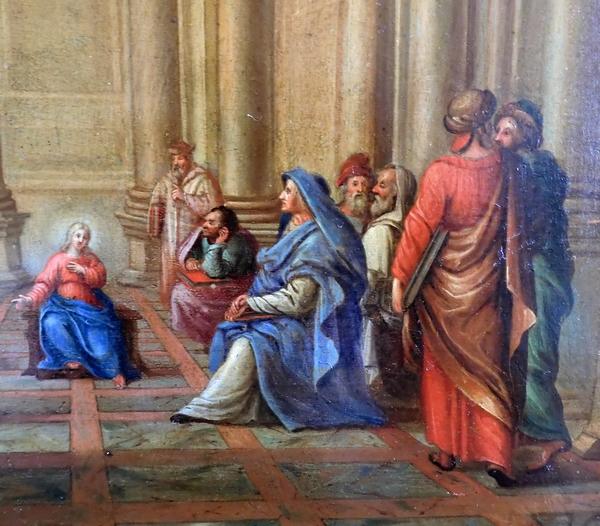 Ecole du XVIIe siècle, huile sur panneau : Jésus et les Docteurs de la Loi
