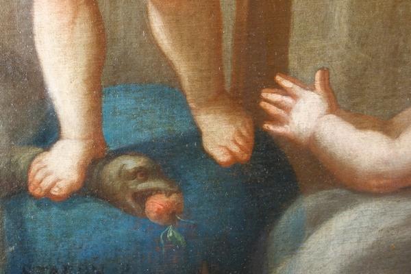 Pierre Staron 1711 : grand tableau d'autel d'époque Louis XIV : l'Enfant Jésus en gloire - 130cm x 160cm