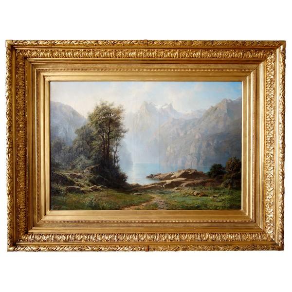 Leberecht Lortet 1826-1901, grand tableau au lac de montagne, huile sur toile - 55cm x 82,5cm