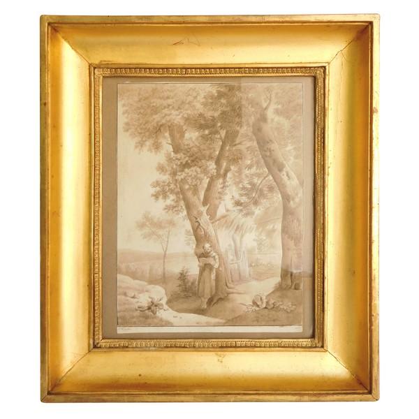 Dessin lavis d'époque Empire, daté 1813 et signé Hoche : le moine Capucin dans son potager