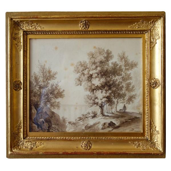 Dessin lavis d'époque fin XVIIIe / début XIXe siècle : caprice architectural signé Champin