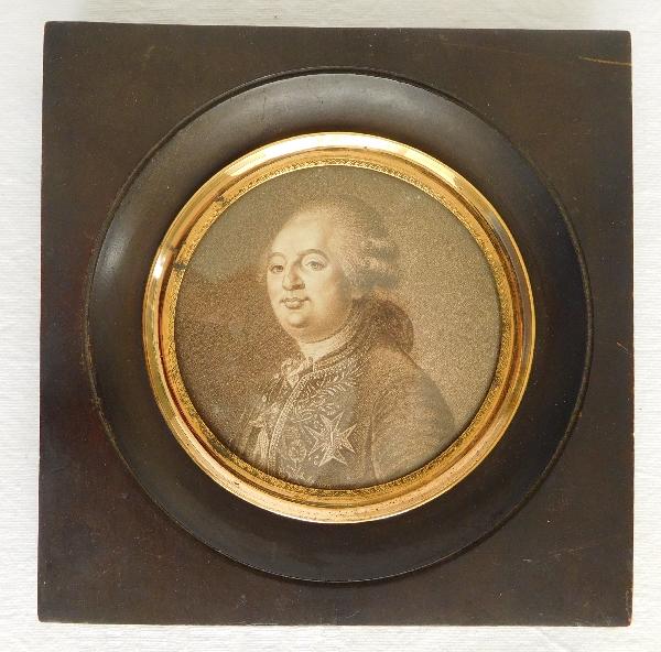 Grande miniature royaliste - portrait gravure de Louis XVI époque Restauration