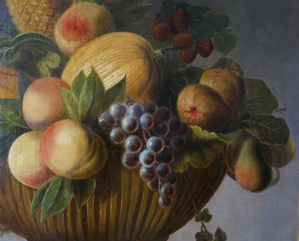 Ecole Française du XVIIIe siècle, nature morte au panier de fruits - huile sur toile 66cm x 88cm