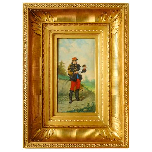 Ecole Française du XIXe siècle, huile sur panneau : officier d'état-major au Cigare - 3e République