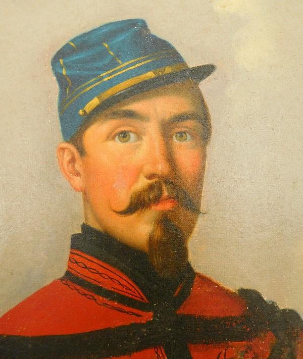 Favori huile sur toile : portrait d'un officier de Spahis en Algérie - 1860 QG54