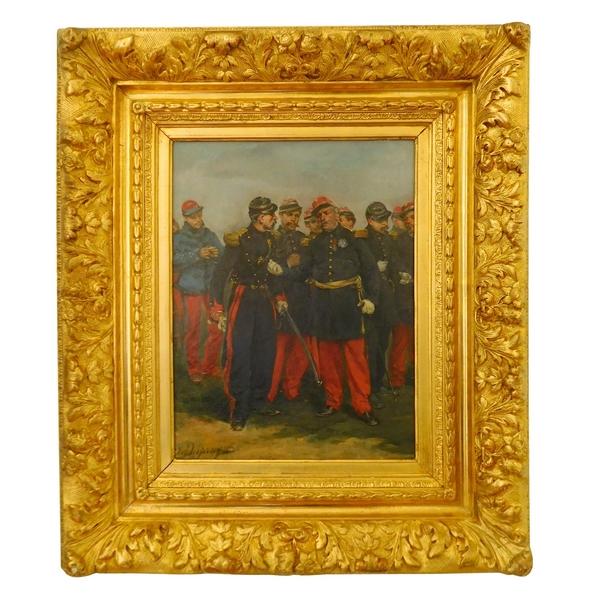 Officiers d'Etat-Major Français par Henri-Louis Dupray, huile sur toile, cadre en bois doré