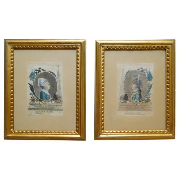 Chevalier d'Eon - paire de gravures d'époque XVIIIe siècle - amusant souvenir historique