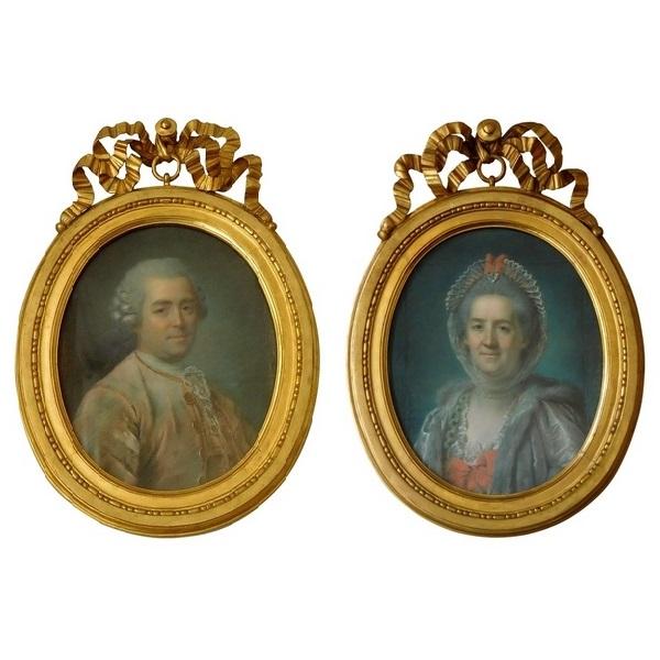 Paire de portraits, pastels d'époque XVIIIe par P. Lion de Dinant