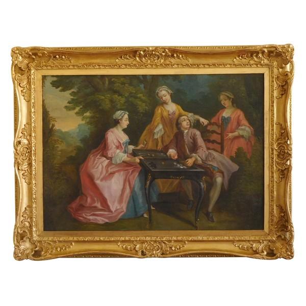 Ecole Française du XVIIIe siècle, la partie de tric-trac d'après Lancret - huile sur toile