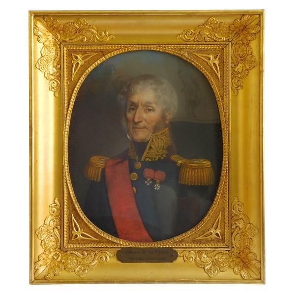 Portrait pastel du Marquis de Vidal en uniforme de Général - époque Restauration circa 1830