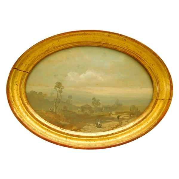 Eugène Ciceri : tableau miniature paysage d'Italie - XIXe siècle