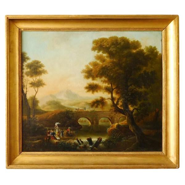 Ecole Française du XVIIIe siècle, paysage aux lavandières, huile sur toile 81cm x 70cm