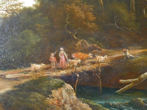 Grand huile sur toile : paysage romantique, époque Empire Restauration