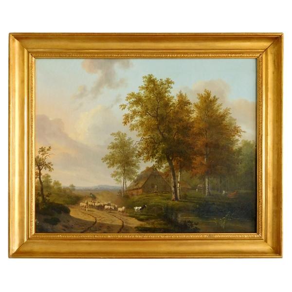 Grand tableau de paysage romantique, époque Empire Restauration