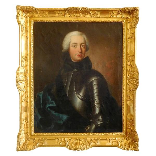 Baziray : portrait d'officier en cuirasse Chevalier de Malte signé & daté de 1738