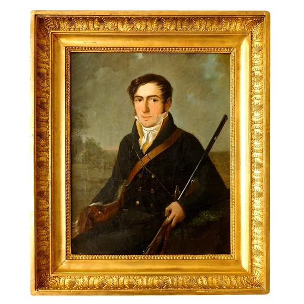 Portrait d'un gentilhomme chasseur et son chien - époque Empire / Restauration