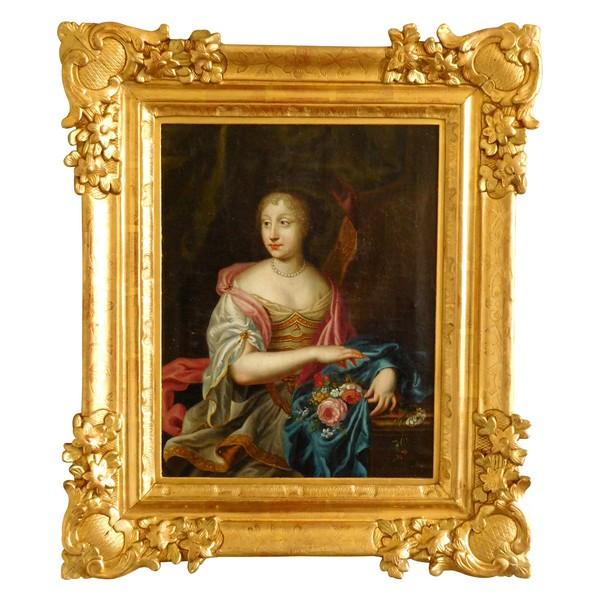 Portrait d'aristocrate d'époque Louis XIV circa 1660, huile sur toile dans un cadre XVIIIe en bois doré