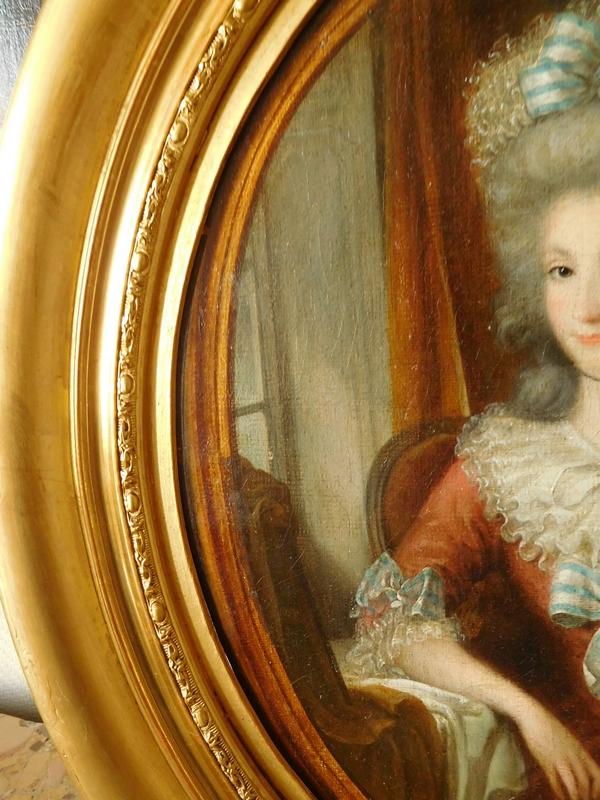 Portrait de dame, huile sur toile d'époque Louis XVI attribué à Perin-Salbreux