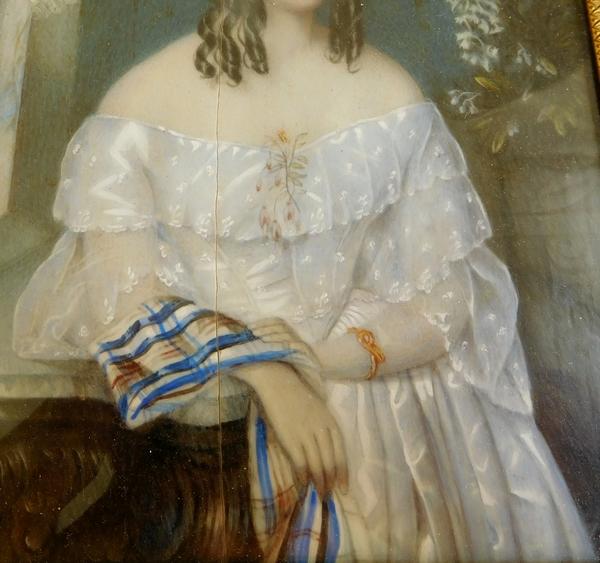 Grande miniature sur ivoire, portrait d'aristocrate - élégante d'époque 1850