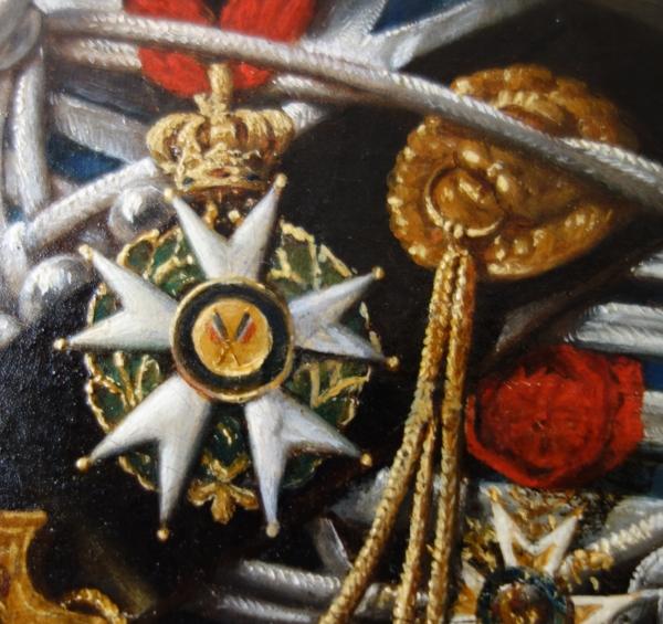 Portrait du Colonel Pozac, héros de l'Empire avec son sabre d'honneur - 1er Régiment de Hussards - huile sur toile