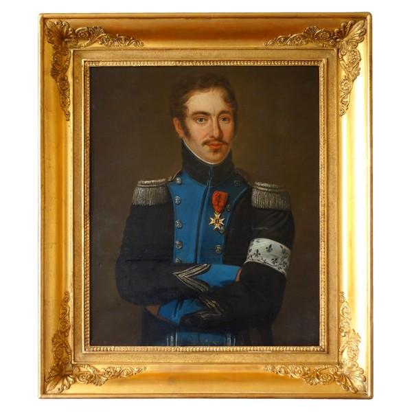 Grand portrait début XIXe d'un officier royaliste de l'Armée de Condé pendant l'Empire - souvenir historique
