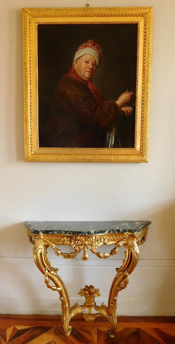 Ecole Française du XVIIIe siècle, portrait du peintre Etienne Jeaurat cadre en bois sculpté et doré