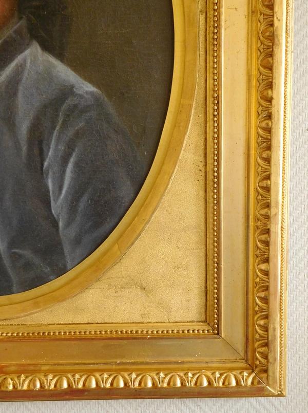 Ecole Française du XVIIIe siècle : portrait de gentilhomme d'époque Louis XVI - huile sur toile