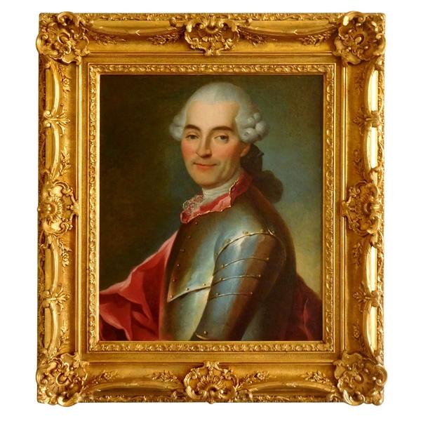 Portrait de gentilhomme Officier en cuirasse, école Française du XVIIIe siècle