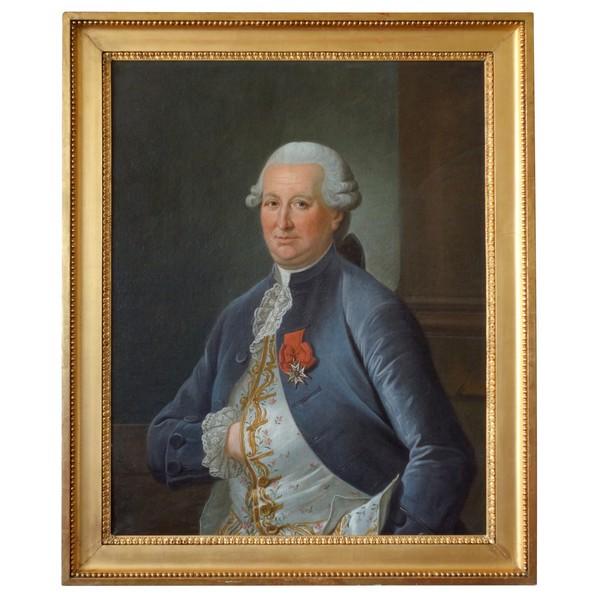 Grand portrait de gentilhomme d'époque Louis XVI : Louis Béra Comte de Latran - 73cm x 91,5cm