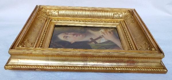 Ecole du début 19e siècle, portrait de Sainte Marie-Madeleine, huile sur panneau dans un cadre doré