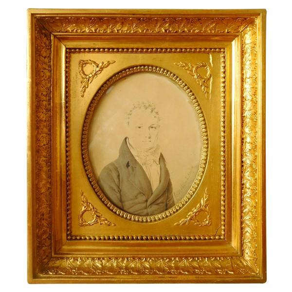 Henri Hesse - portrait miniature d'époque Empire - lavis daté et signé de 1811