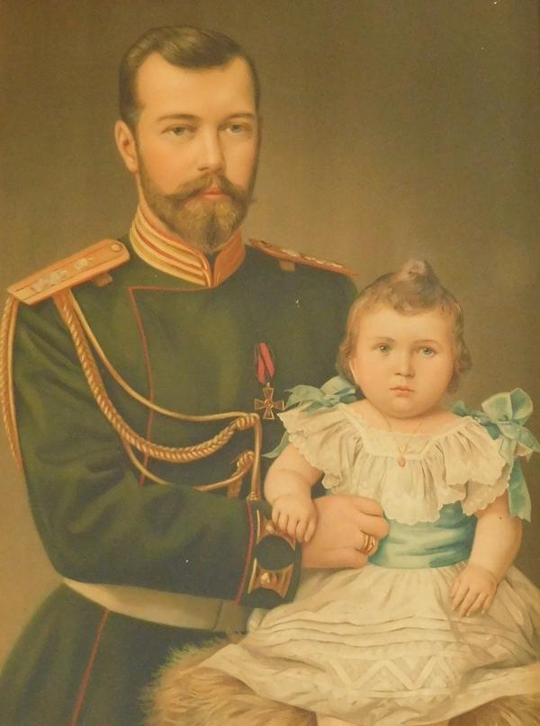 Portrait du Tsar Nicolas II et de la Grande Duchesse Olga en 1895 - chromolithographie, cadre doré