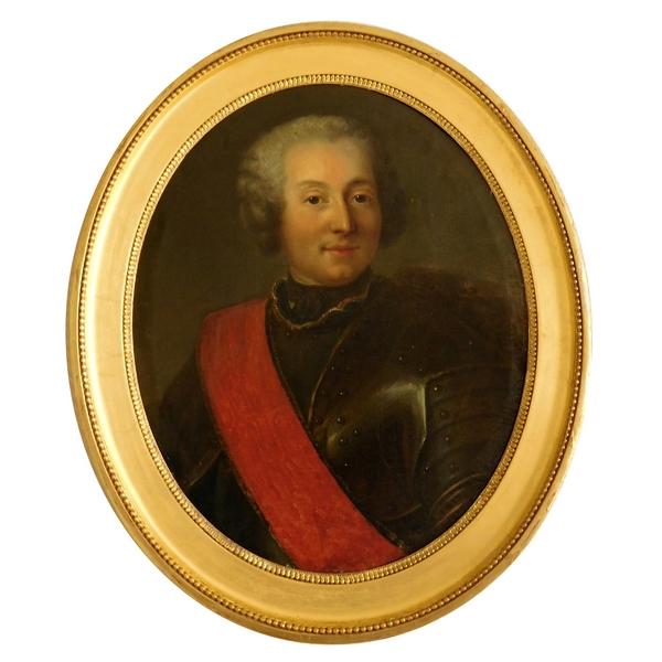 Portrait d'officier en cuirasse Commandeur de l'Ordre de St Louis, école Française du XVIIIe siècle