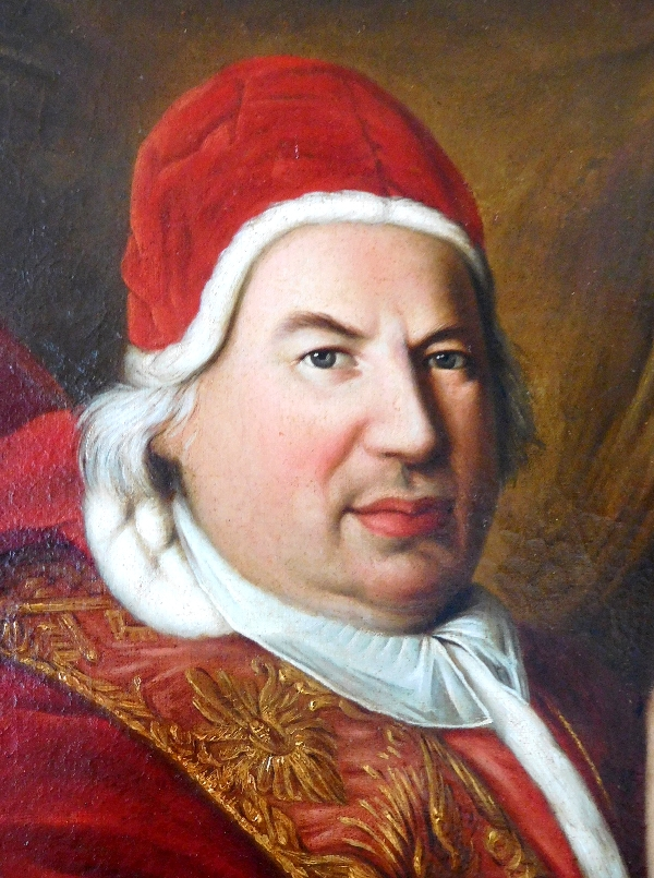 Ecole du XVIIIe siècle, grand portrait du Pape Benoît XIV, d'après Pierre Subleyras - 128cm x 94cm