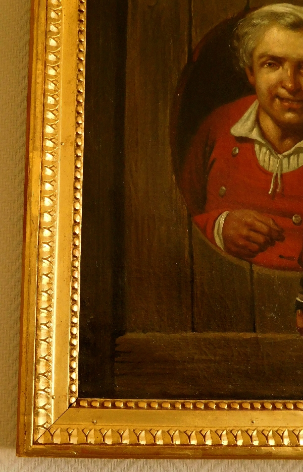 Ecole du XVIIIe siècle, tableau en trompe-l'oeil : le priseur de tabac, huile sur toile