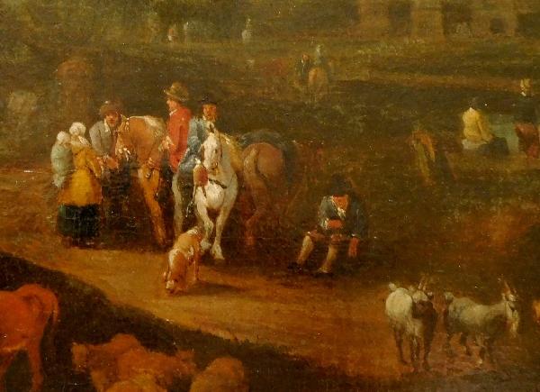 Ecole Flamande du XVIIe siècle, entourage de Pieter Bout : le retour du marché, huile sur toile